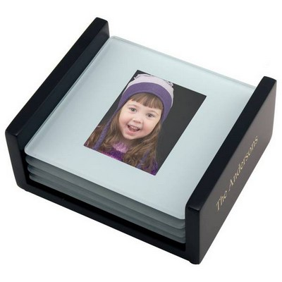 Glass Coaster Photo Set with Black Wooden Base
