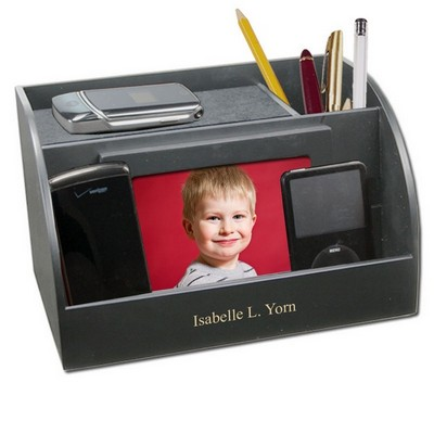 Black Charging Station with Photo Frame and Pencil Cup