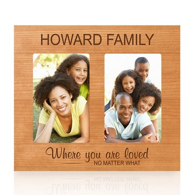 Double 4x6 Personalized Cherry Wood Family Photo Frame
