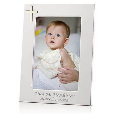 Elegant Baptism and Christening Silver Frame with Cross