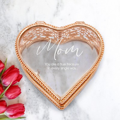 Elegant Personalized Heart Jewelry Box for Mom