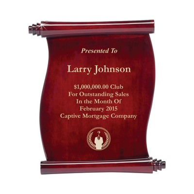 Elegant Scroll Corporate Logo Rosewood Plaque