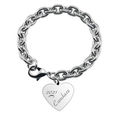 Engraved Heart Charm Bracelet for Graduates
