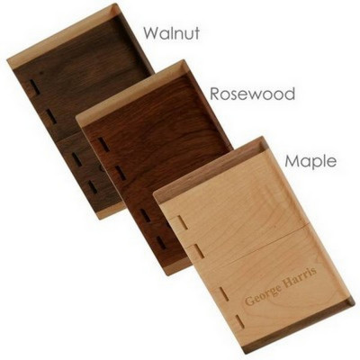Engraved Natural Wood Business Card Case