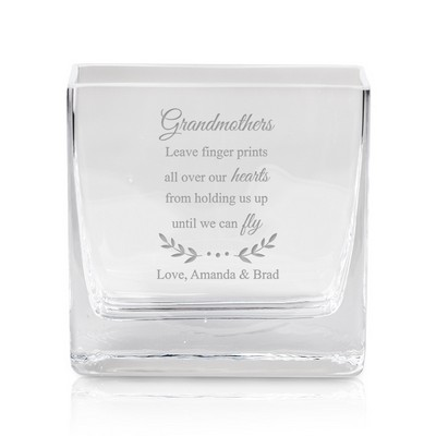 Engraved Square Glass Vase for Grandmothers