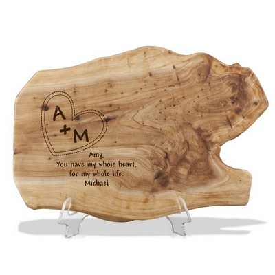 Engraved Wood Root Plaque for Couples