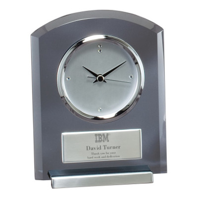 Executive Smoked Glass Desk Clock with Logo