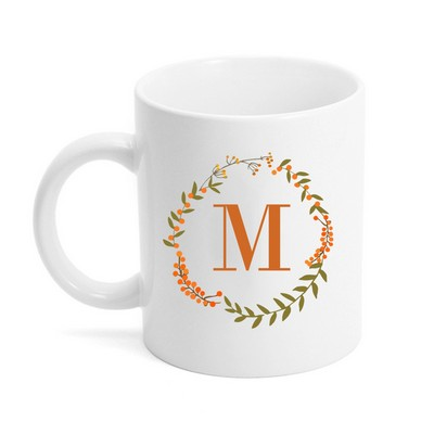 Fall Wreath Monogrammed Ceramic Coffee Mug