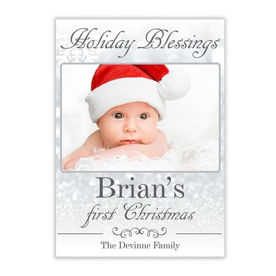 First Holiday Blessings Photo Christmas Card