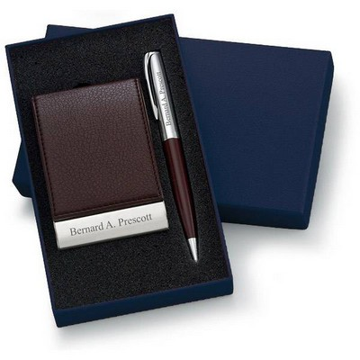 Personalized Designer Brown Leatherette Vertical Business Card Case and Pen Set