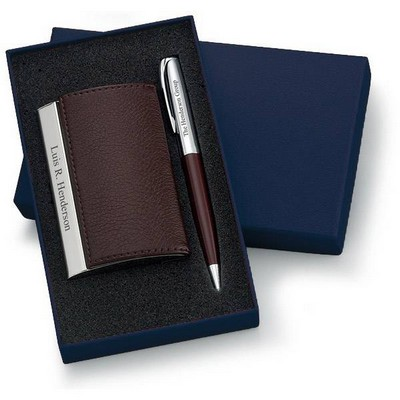 Personalized Designer Brown Leatherette Card Holder and Pen Set
