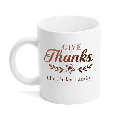 Give Thanks Personalized Ceramic Coffee Mug