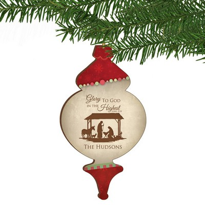 Glory to God Personalized Vintage Christmas Ornament