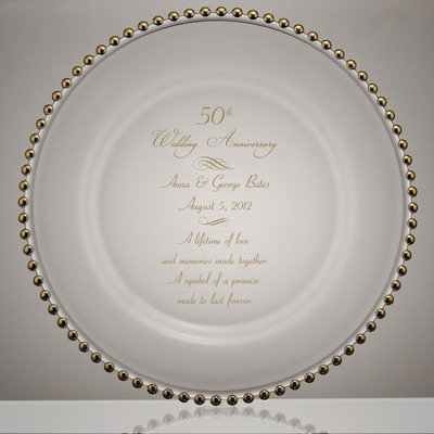 Golden Beads 50th Wedding Anniversary Glass Plate