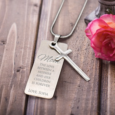 Graceful Personalized Silver Cross Necklace for Mom