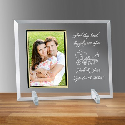 "Happily Ever After Glass Vertical 5"" X 7"" Personalized Photo frame"