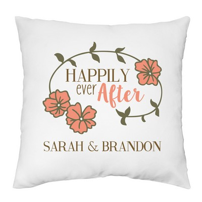 Happily Ever After Decorative Pillow Case for Couples