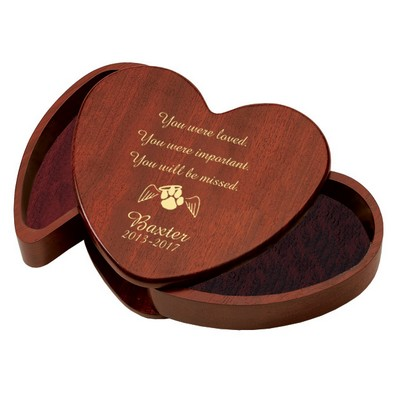 Heart Shaped Rosewood Personalized Keepsake Box for Pets
