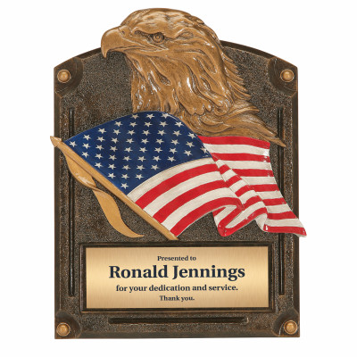 Heart and Dedication Eagle and Flag Resin Award Plaque