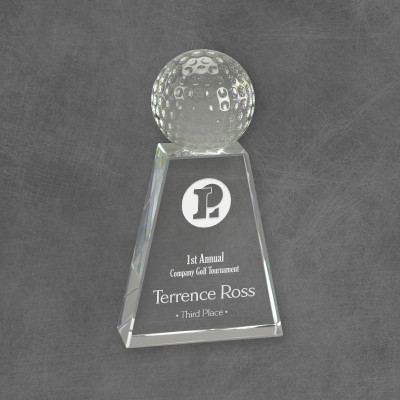 Hole in One Corporate Logo Crystal Award