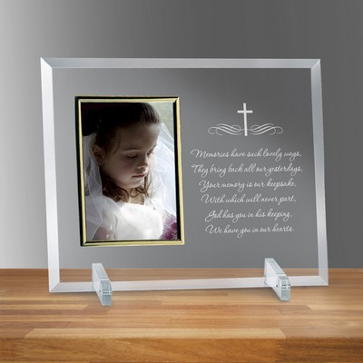 "Holy Cross Glass Vertical 4"" X 6"" Personalized Photo frame"