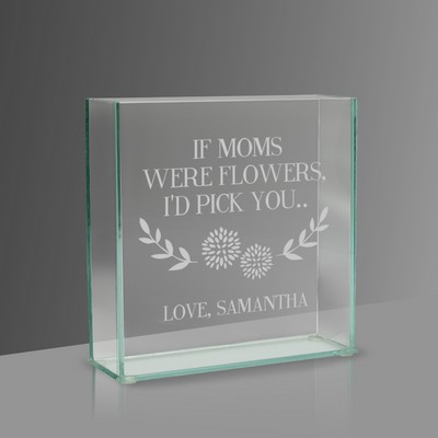 If Moms Were Flowers Personalized Square Glass Vase