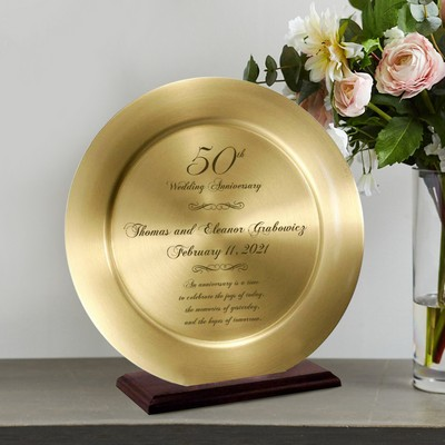 Impressive Personalized 50th Anniversary Solid Brass Keepsake Plate on a Wood Stand