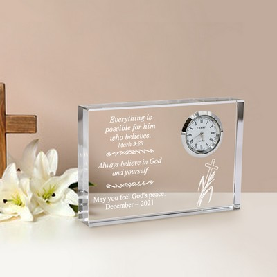 Inspirational Clear Crystal Desk Clock