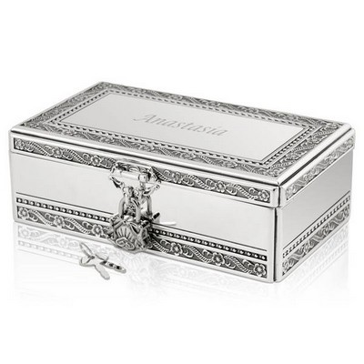 Silver Jewelry Box with Lock and Key