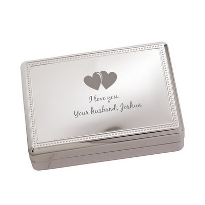 Personalized Silver Romantic Hearts Jewelry Box