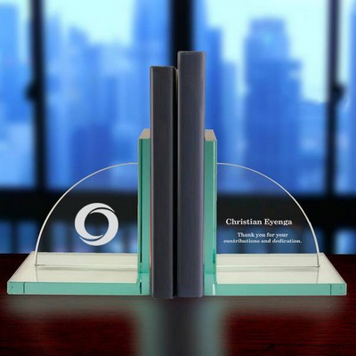 Jade Glass Business Office Personalized Bookends
