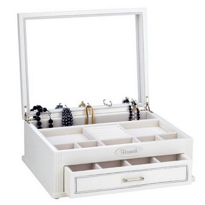 Jillian Personalized White Jewelry Chest