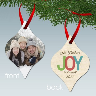Joy to the World Personalized Family Aluminum Ornament