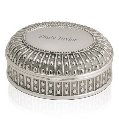 Antique Oval Silver Keepsake Box
