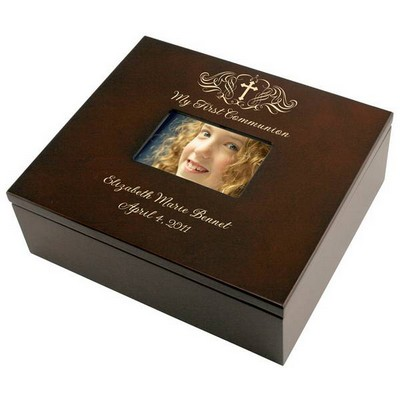 Holy Cross First Communion Personalized Keepsake Box with Frame