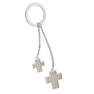 Double Cross Glitter Key Chain