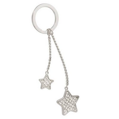 Double Star Glitter Key Chain