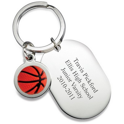 Personalized Dog Tag Basketball Keyring