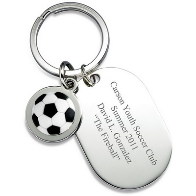 Personalized Dog Tag Soccer Keyring