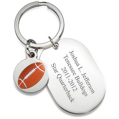 Personalized Dog Tag Football Keyring