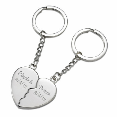 b1c356d069f3e Two Souls One Heart Personalized Couples Key Chain