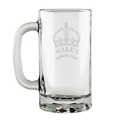 Kings Crown Etched Glass Beer Mug