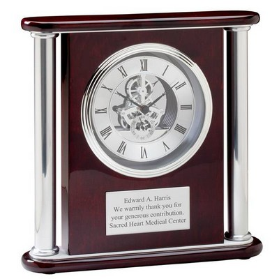 Large Rosewood Personalized Mantle Clock
