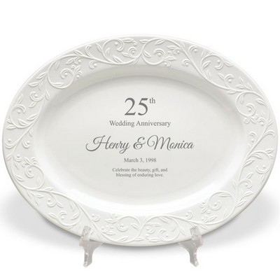 Lenox 25th Wedding Anniversary Personalized Oval Platter