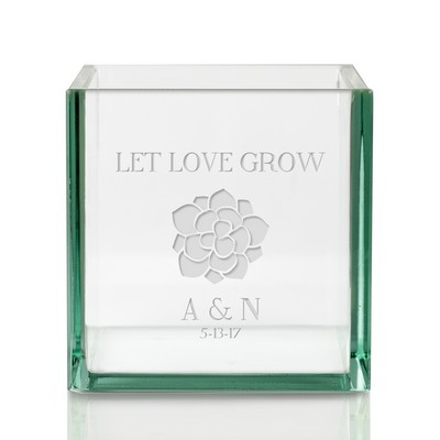 Let Love Grow Personalized Square Glass Vase