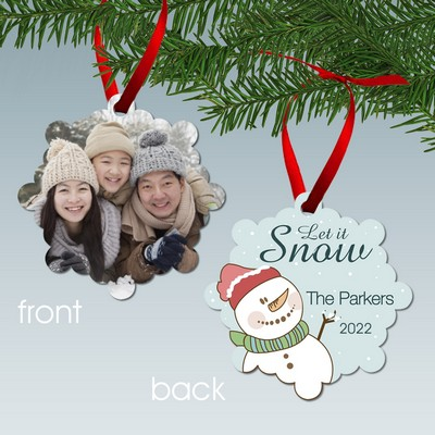 Let it Snow Personalized Family Photo Aluminum Ornament