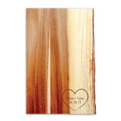 Live Edge Carved Wood Cutting Board for Couples