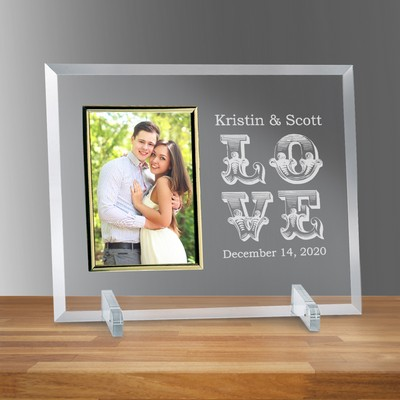 "Love Personalized Glass Vertical 4"" X 6"" Photo frame"