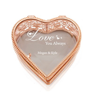 Love You Always Personalized Rose Gold Heart Jewelry Box