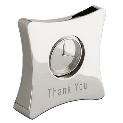 Moda Curved Personalized Silver Clock